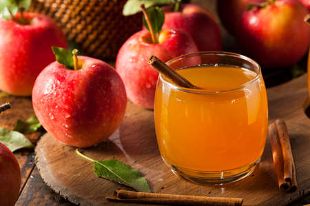 drink: Organic Apple Cider with Cinnamon Ready to Drink Stock Photo