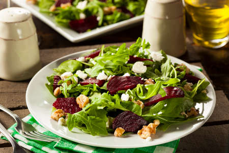 Raw Green Beet and Arugula Salad with Feta Stock Photo
