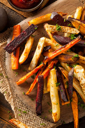 sweet potato: Oven Baked Vegetable Fries with Carrots, Potato, and Beets Stock Photo