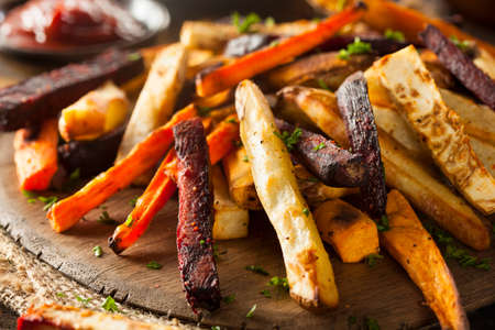 Oven Baked Vegetable Fries with Carrots, Potato, and Beets Stock Photo