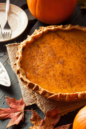 Homemade Pumpkin Pie for Thanksigiving Ready to Eat photo