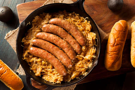 bratwurst: Roasted Beer Bratwurst with Saurkraut in a Pan