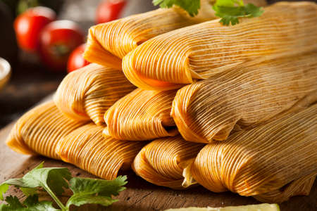Homemade Corn and Chicken Tamales Ready to Eat photo