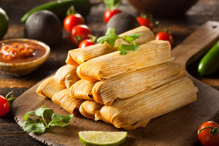 corn: Homemade Corn and Chicken Tamales Ready to Eat