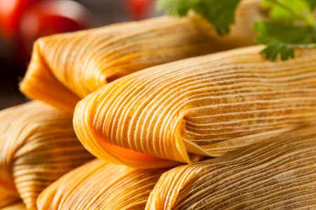 gourmet food: El ma�z casera y pollo Tamales Listo para comer Foto de archivo