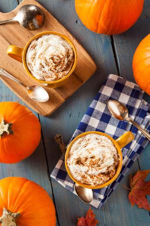 Autumn Pumpkin Spice Latte with Milk and Cream 스톡 콘텐츠