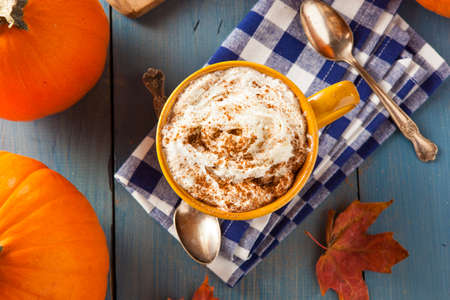 spice: Autumn Pumpkin Spice Latte with Milk and Cream Stock Photo