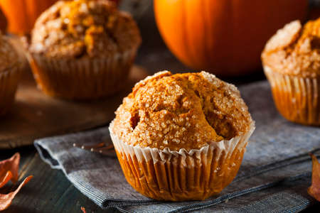homemade cake: Homemade Autumn Pumpkin Muffin Ready to Eat Stock Photo