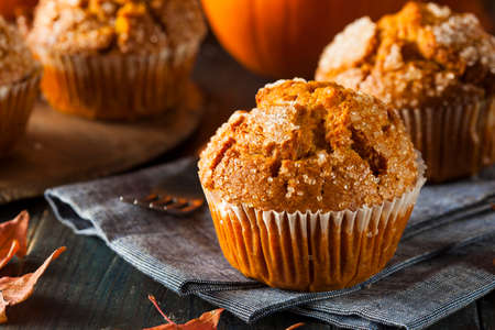 muffins: Homemade Autumn Pumpkin Muffin Ready to Eat Stock Photo