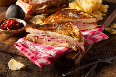 monte cristo: Homemade Monte Cristo Sandwich with Ham and Cheese