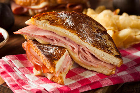 jam sandwich: Homemade Monte Cristo Sandwich with Ham and Cheese