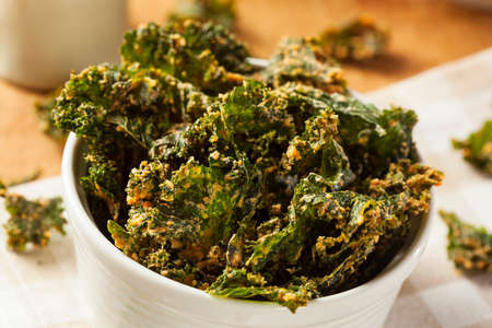 Homemade Green Kale Chips with Vegan Cheese Stock fotó