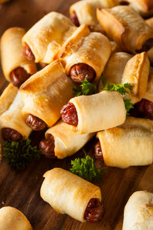 Homemade Pigs in a Blanket Ready to Eat Archivio Fotografico
