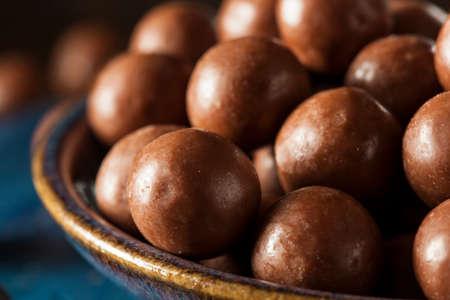 malted: Dark Chocolate Malted Milk Balls in a Bowl