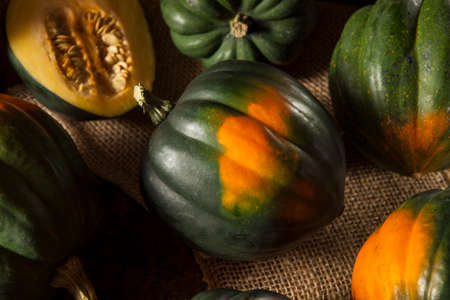 Raw Organic Green and Orange Acorn Squash Stock Photo