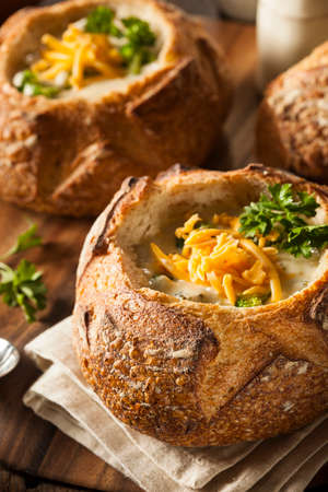 Homemade Broccoli and Cheddar Soup in a Bread Bowl photo