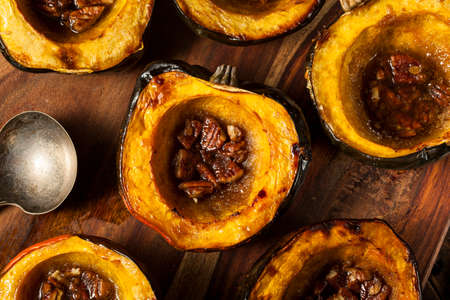 acorn nuts: Homemade Roasted Acorn Squash with Brown Sugar and Pecans