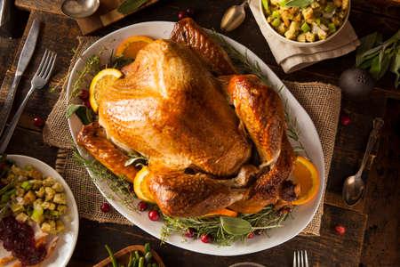 Whole Homemade Thanksgiving Turkey with All the Sides Stok Fotoğraf - 32917334