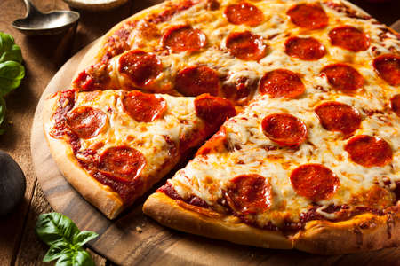 Hot Homemade Pepperoni Pizza Ready to Eat photo