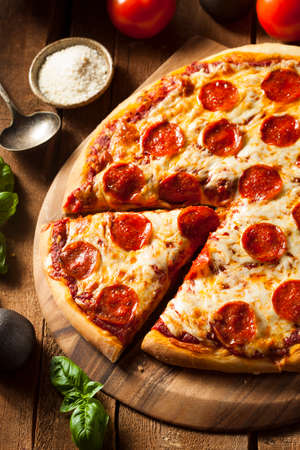 Hot Homemade Pepperoni Pizza Ready to Eat Stock Photo