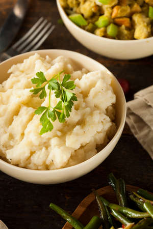 Homemade Creamy Mashed Potatoes in a Bowl photo