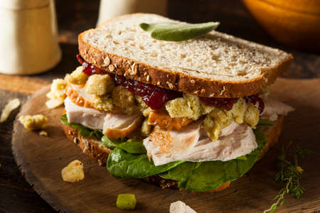 Homemade Leftover Thanksgiving Dinner Turkey Sandwich with Cranberries and Stuffing 免版税图像
