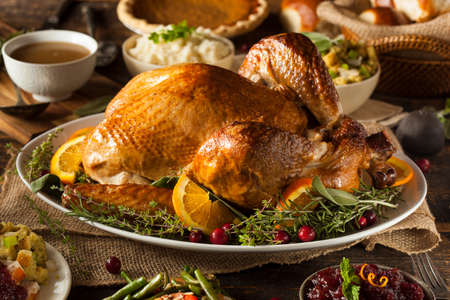 Whole Homemade Thanksgiving Turkey with All the Sides 版權商用圖片 - 32918822