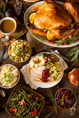 Homemade Thanksgiving Turkey on a Plate with Stuffing and Potatoes photo