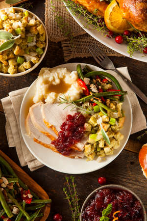 stuffing: Homemade Thanksgiving Turkey on a Plate with Stuffing and Potatoes