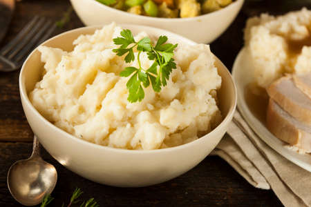 white yummy: Homemade Creamy Mashed Potatoes in a Bowl