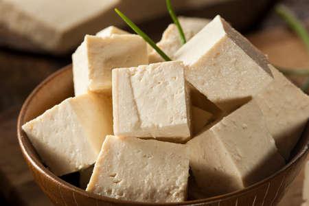 Organic Raw Soy Tofu on a Background 版權商用圖片
