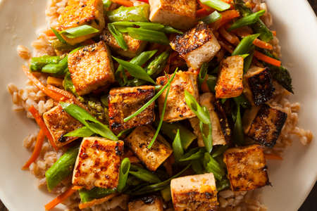 Homemade Tofu Stir Fry with Vegetables and Rice Stock fotó