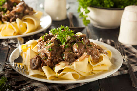 Homemade Hearty Beef Stroganoff with Mushrooms and Noodles