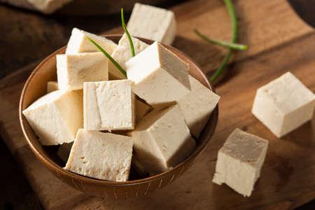 Organic Raw Soy Tofu on a Background Stock fotó
