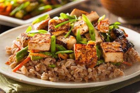 Zelfgemaakte Tofu roerbak met groenten en rijst Stockfoto