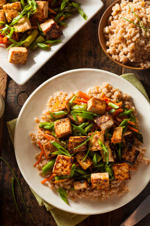 Homemade Tofu Stir Fry with Vegetables and Rice Imagens