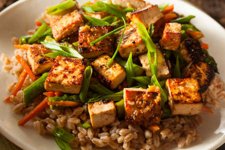 rice noodles: Homemade Tofu Stir Fry with Vegetables and Rice Stock Photo