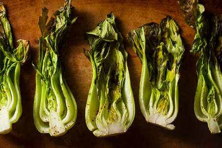 Baked Organic Baby Bok Choy with Salt and Pepper photo