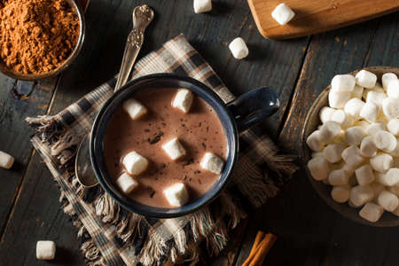 chocolate caliente: Homemade chocolate negro caliente con malvaviscos y Canela