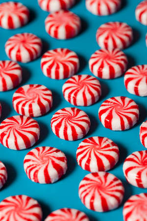 Sweet Red and White Peppermint Candy in a Bowl Stock fotó
