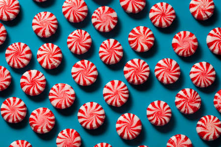 candy stripe: Sweet Red and White Peppermint Candy in a Bowl Stock Photo