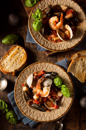seafood soup: Homemade Italian Seafood Cioppino with Mussels, Clams, and Shrimps