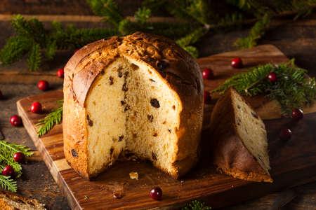 Homemade Panettone Pastel de frutas listo para la Navidad Foto de archivo - 33728049