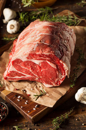 raw steak: Raw Grass Fed Prime Rib Meat with Herbs and Spices