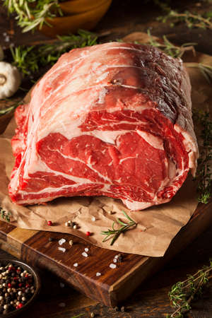 prime rib: Raw Grass Fed Prime Rib Meat with Herbs and Spices