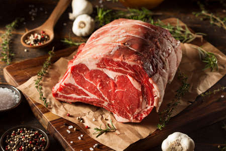 sirloin steak: Raw Grass Fed Prime Rib Meat with Herbs and Spices