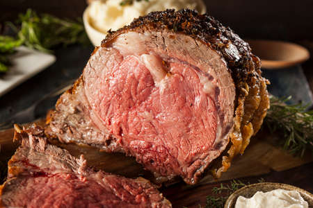 roast meat: Homemade Grass Fed Prime Rib Roast with Herbs and Spices