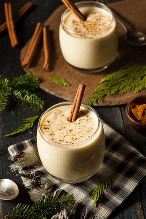 eggnog: Homemade White Holiday Eggnog with a Cinnamon Stick