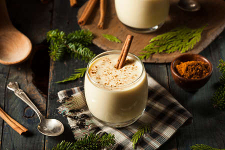 hot drinks: Homemade White Holiday Eggnog with a Cinnamon Stick