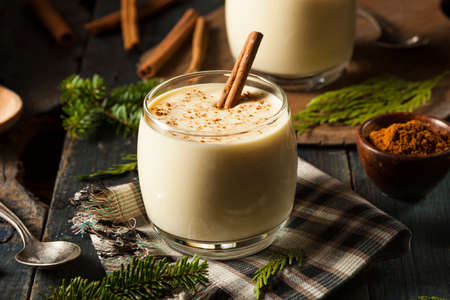 cocktail: Homemade White Holiday Eggnog with a Cinnamon Stick